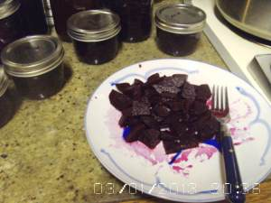Plate of canned spiced beets